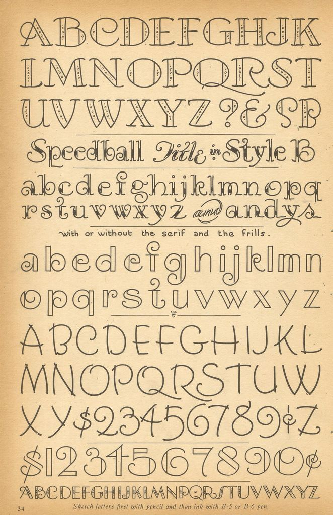 vintage script and decorative alphabets ~ Speedball Letting (1957), Ross F. George
