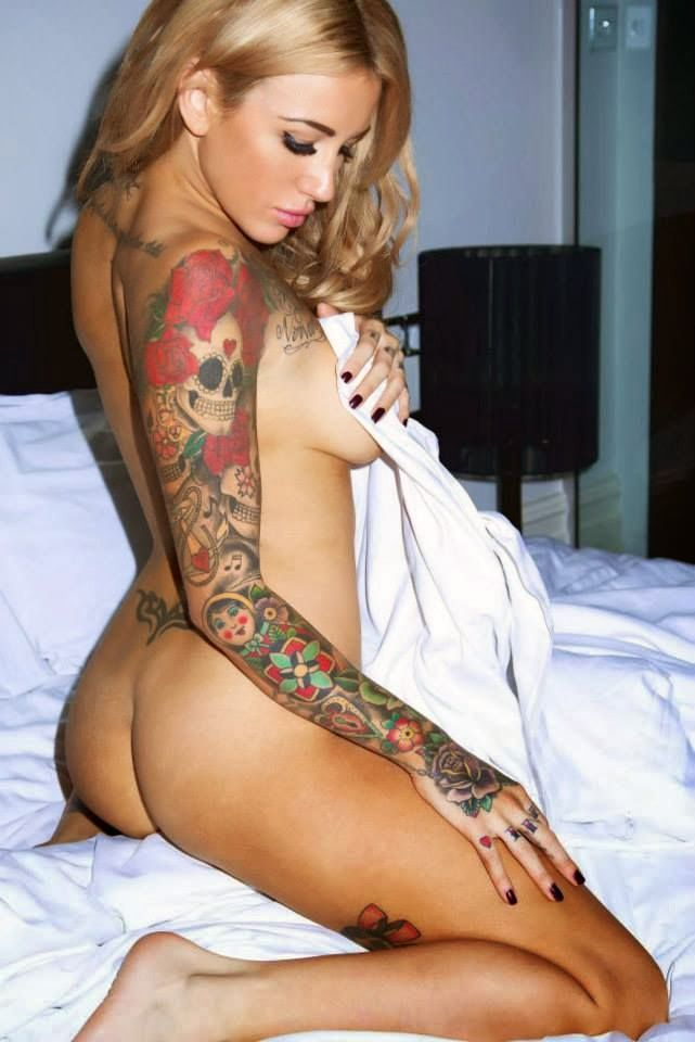 Super sexy tattooed girl fingering her tight shaved pussy 10