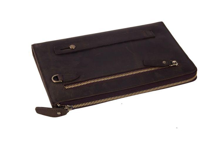Image of Handmade Genuine Leather Travel Wallet, Clutch, iPad Bag, Wristlet Bag, Men Wallet 9073
