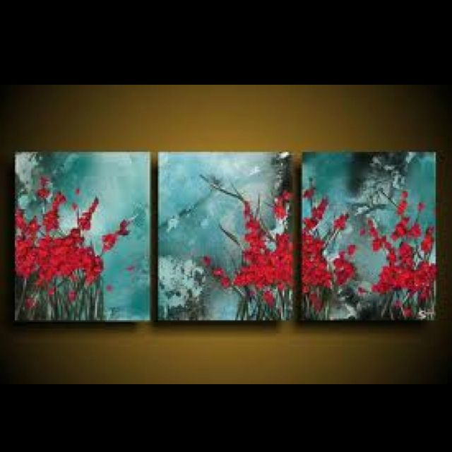 Turquoise and red wall art---neat paint color scheme for the living room...?