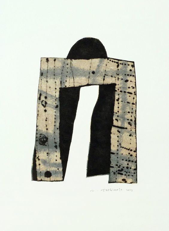 「艮(うしとら)の門」 2013年  20 × 14.5 cm ドライポイント シンコレ モノタイプ インク 墨 和紙