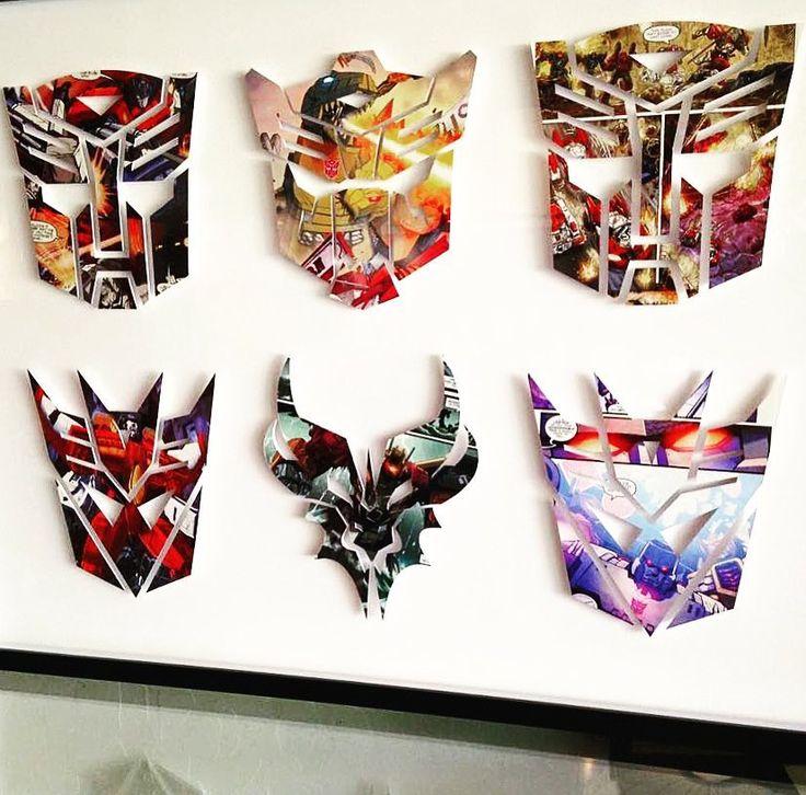 "Polubienia: 68, komentarze: 4 – handcut HEROES + VILLAINS (@handcuthero) na Instagramie: ""#Transformers logos handcut, mounted and framed. . . . #autobots #decepticons #dinobots…"""