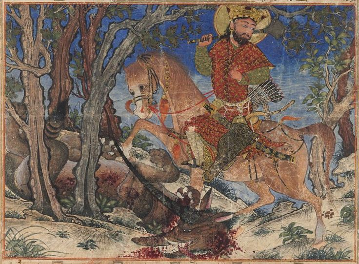 Detail of Bahram Gur Fights the Karg, folio from the Great Il-Khanid Shahnama. Islamic; Persian, Il'Khanid. c. 1330–1340 C.E. Ink and opaque watercolor, gold, and silver on paper.