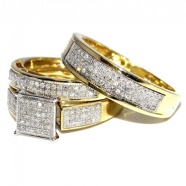 his her wedding rings set trio men women 10k yellow gold 06ctw - Trio Wedding Ring Sets