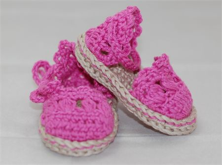 Baby Shoes, 0 to 6 months, Crochet, Pink Shoes