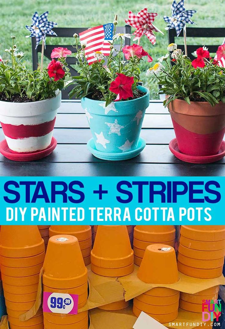 Scored an amazing deal on a bunch of terra cotta pots at @99centsonly so I made a bunch of DIY terra cotta pot ideas. Get 3 patriotic DIY terra cotta pot ideas at http://www.smartfundiy.com/4th-of-july-diy-terra-cotta-pot/ #DoingThe99 #99YourFourth [AD]