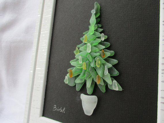 Sapin De Noel Miniature Arbre en verre de mer, Arbre de Noël en verre de mer, Sapin de