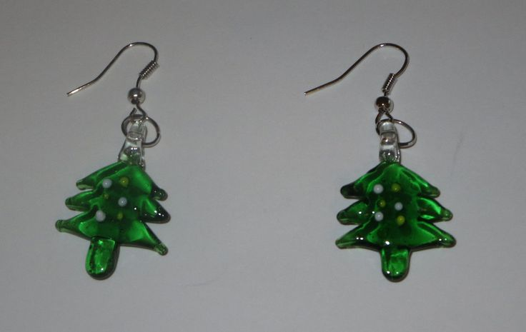 Tree Art Glass Earrings Fish Hook Style Pierced Christmas Green