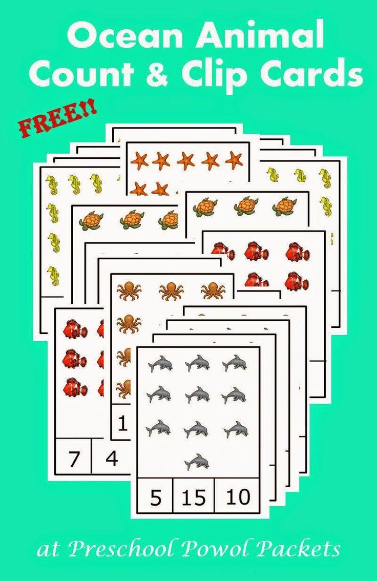 {FREE} Preschool Ocean Animals Count & Clip Cards   Preschool Powol Packets