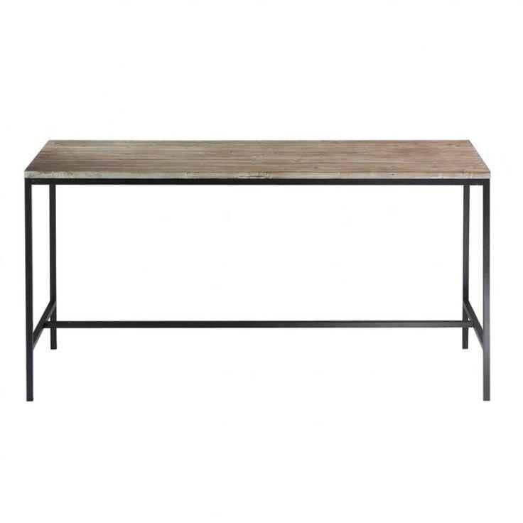 Mesa de comedor industrial de madera maciza y metal An. 210 cm Long Island