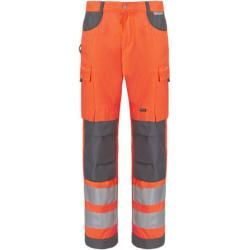 Dassy Safety Chicago – High visibility trousers with knee pad pockets – neon orange / dark blue – standard
