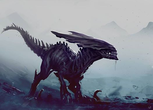 Xenomorph Raptor. Digital Painting by The Art of Nagy Norbert.