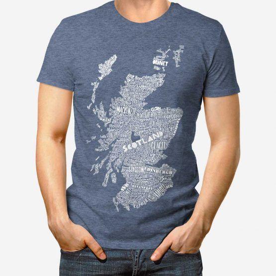 2b8cf8361da large hand drawn Scotland map print t-shirt by Gillian Kyle