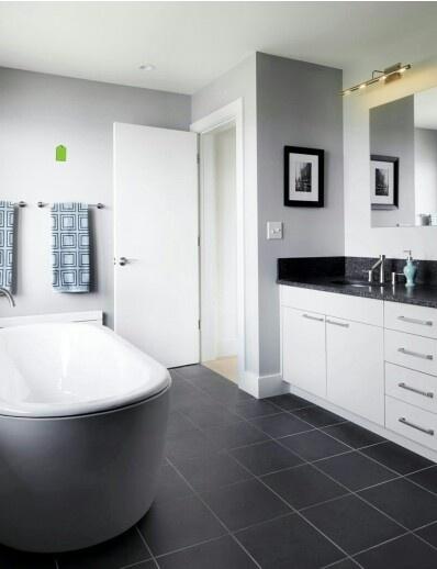 Salle de bain noir, gris& blanc