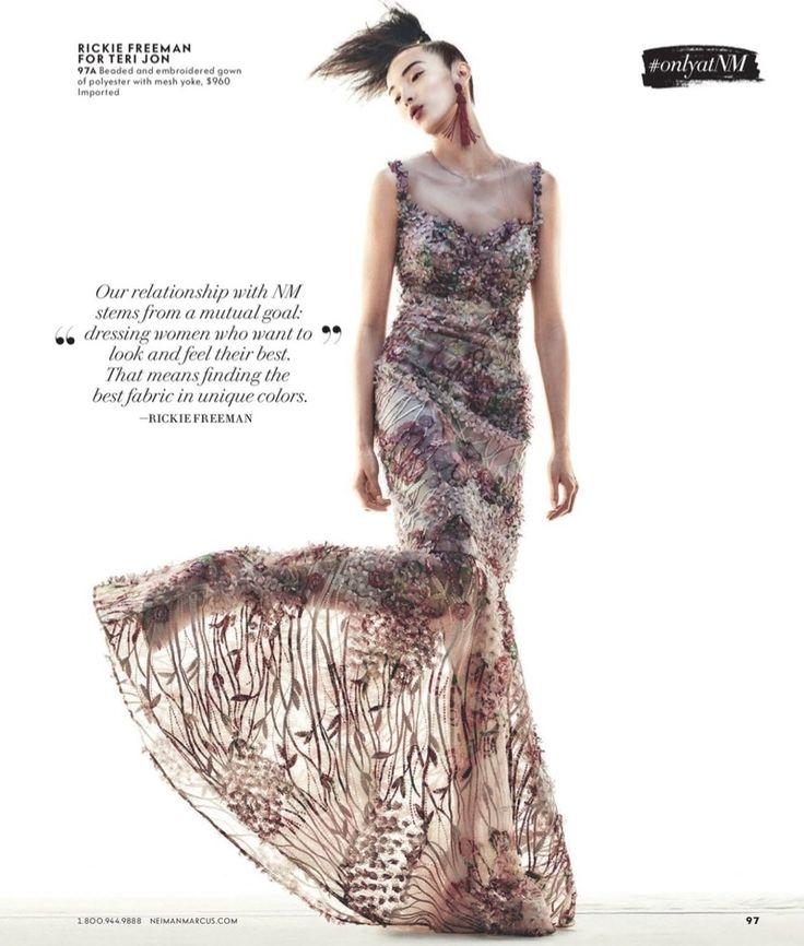Рики Фримен для Тери Джон рукавов Цветочного Illusion Русалки платья