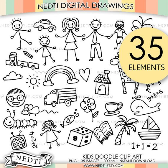 BEST SELLER Kids Doodle Clip Art Children Clipart Cute by Nedti
