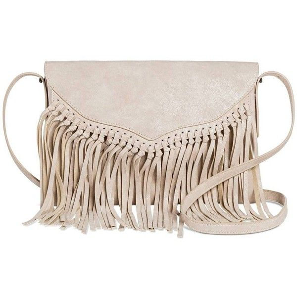 Twig & Arrow Women's Crossbody Handbag with Knotted Fringe Flap ($25) ❤ liked on Polyvore featuring bags, handbags, shoulder bags, purse crossbody, crossbody purse, hand bags, crossbody shoulder bags and fringe purse
