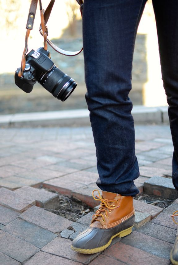 Duck boots and a DSLR