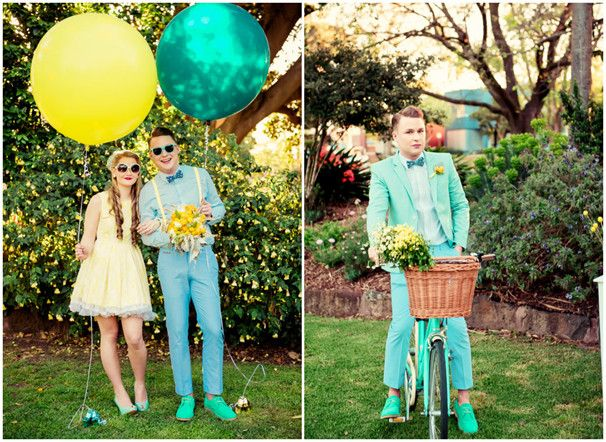 vintage wedding photos yellow and turquoise