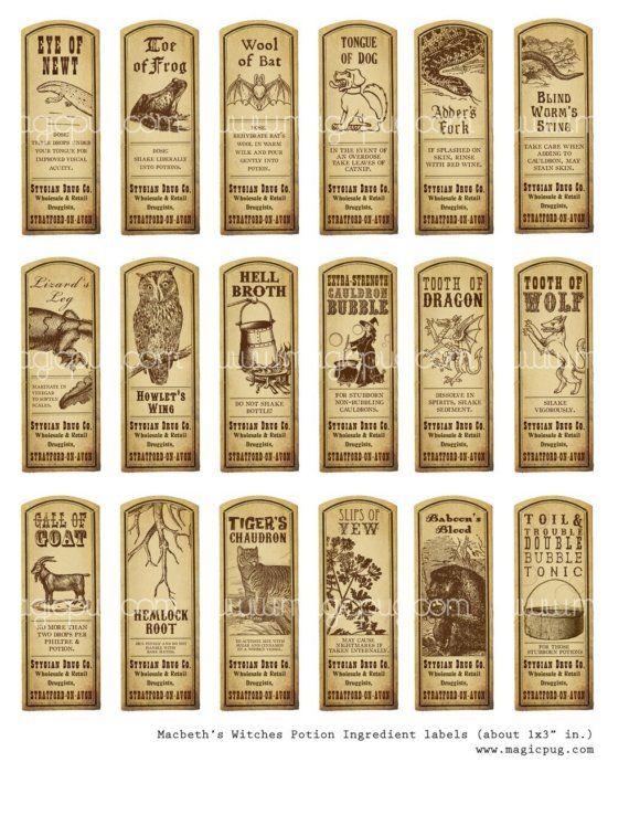 Witch Potion Ingredients Labels