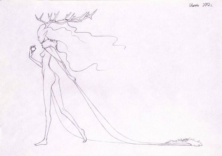 Lady of the forest. Pencil sketch