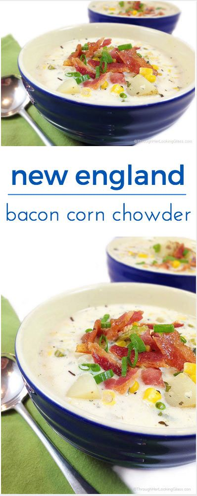Famous New England Bacon Corn Chowder. It's magical coming in from the cold on a blustery winter day to a steaming bowl of creamy bacon corn chowder.