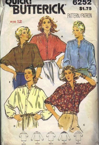 80s Sewing Pattern Butterick Boho Hippie Style Shirt Bat Wing Blouse Loose Fit Band Collar Button Front Dolman Sleeves Bust 34. $3.00, via Etsy.: Fit Bands, Bands Collars, Hippie Styles, Style Shirts, Patterns Butterick, Sewing Patterns