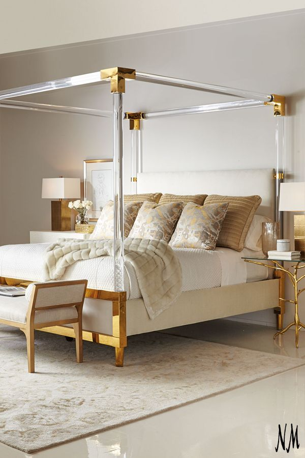 A golden bed made for a goddess by Bernhardt Furniture. Snooze on a cloud of glinting luxury.