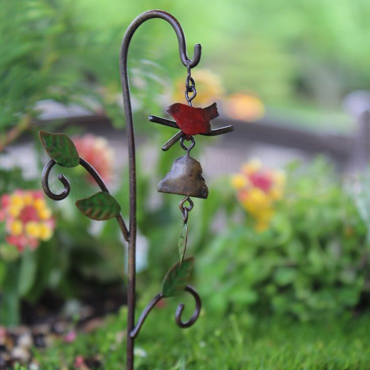 Bird Windchime (metal): Fairy Garden
