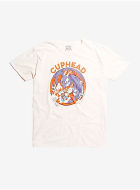 Natural color T-shirt from the indie run and gun video game  Cuphead  with a design rendered in the game's signature 1930s animation style showing Cuphead and Mugman fighting The Devil.   100% cotton  Wash cold; dry low  Imported  Listed in men's sizes