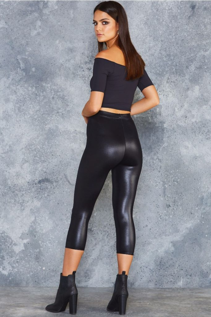 d4bc42d78ad772 Wet Look High Waisted 3/4 Leggings | Wish List | Women's fashion ...