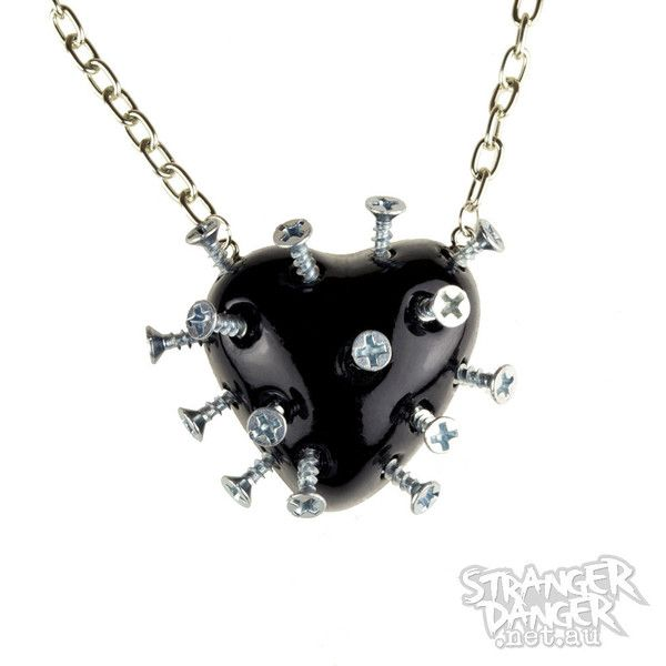 Black Broken Heart Necklace With Screws (goth, jewellery, punk, emo,... (£26) ❤ liked on Polyvore featuring jewelry, necklaces, accessories, black, colares, pendant chain necklace, heart chain necklace, long heart necklace, punk necklace and heart shaped necklace