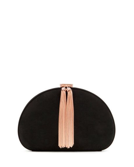 Leather round tassel clutch bag - Jet | Bags | Ted Baker UK