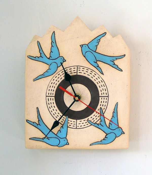 Clock blue birds