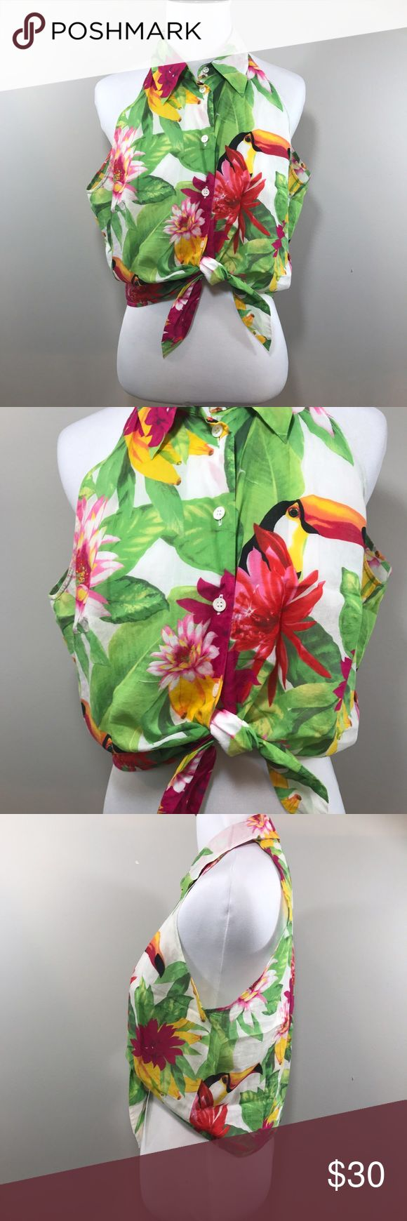 Vintage 90s Escada Sport Tropical Toucan Crop Top In excellent vintage condition. Button up tie crop top. Size 42-- Italian sizing. Fits like a M in US. Shown on a S mannequin size 2/4. Escada Tops Crop Tops
