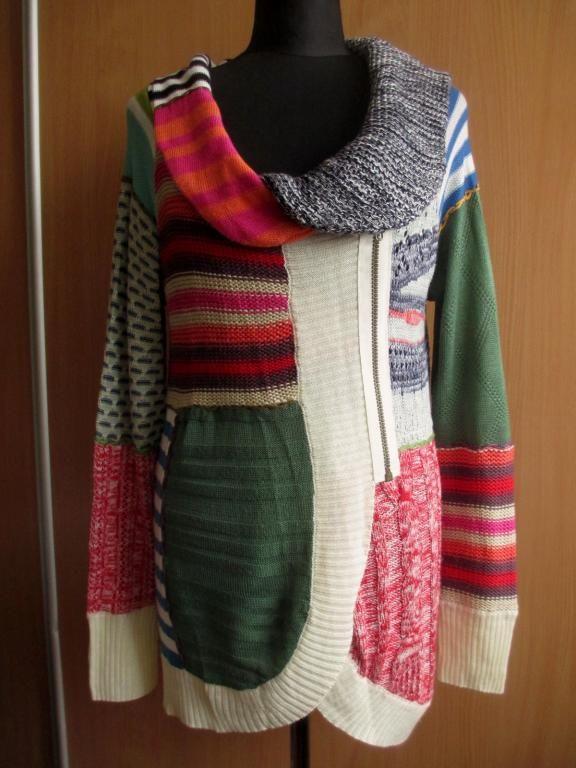 DESIGUAL _kolorowy sweter na zamek _ 42