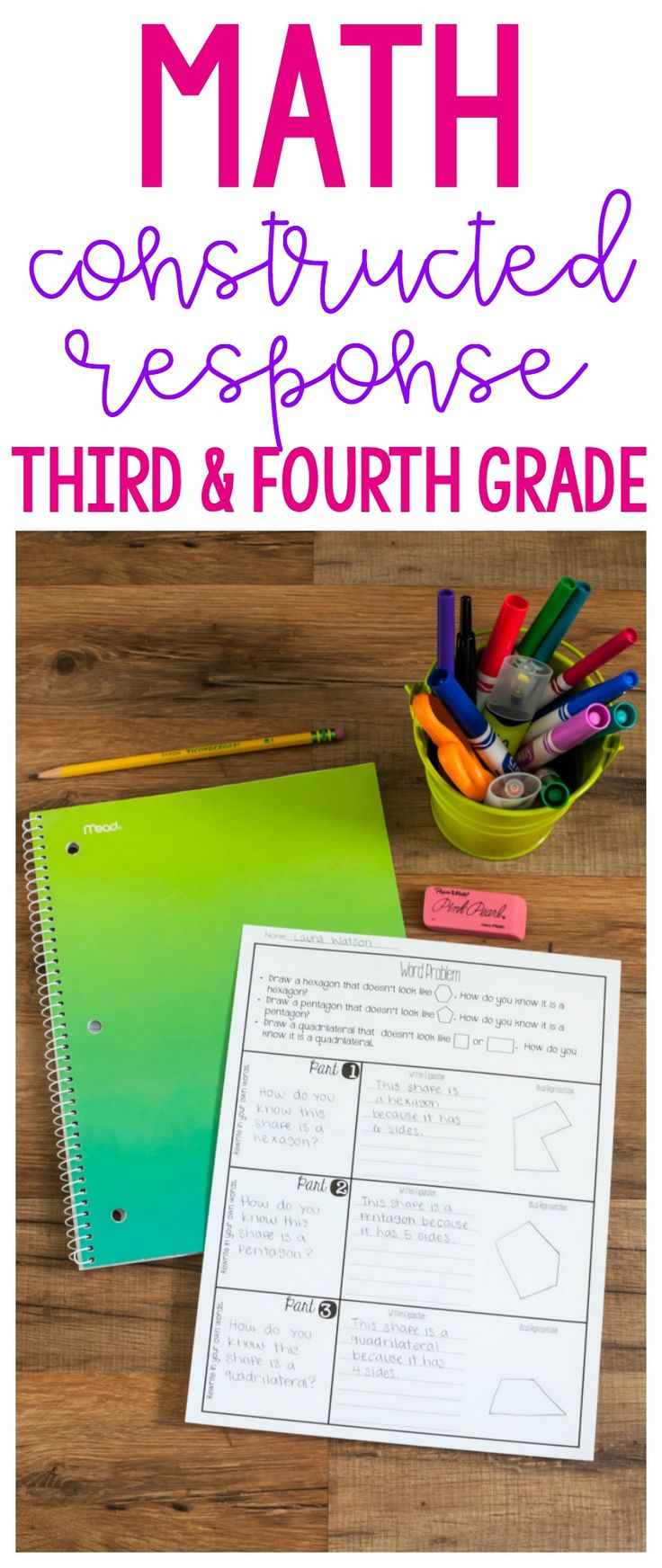 Take the stress out of math constructed response problems and multi part problems with this scaffolded approach to math constructed response! This includes separate versions for third and fourth grade!