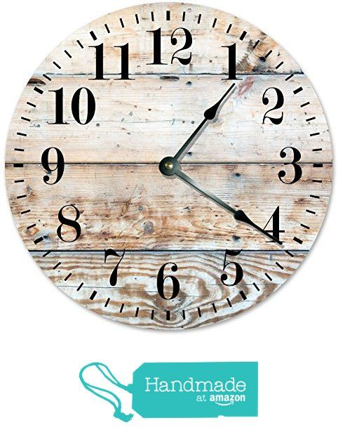 """LIGHT BROWN WOOD CLOCK Large 10.5"""" Wall Clock Decorative Round Novelty Clock PRINTED WOOD IMAGE Cabin, Rustic Decor from Sugar Vine Art"""