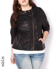 Plus Size mblm Vegan Leather & Lace Jacket | Penningtons