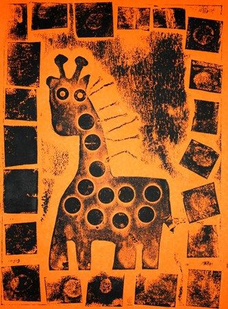 African Animal Collagraph Prints - Artsonia Lesson Plan