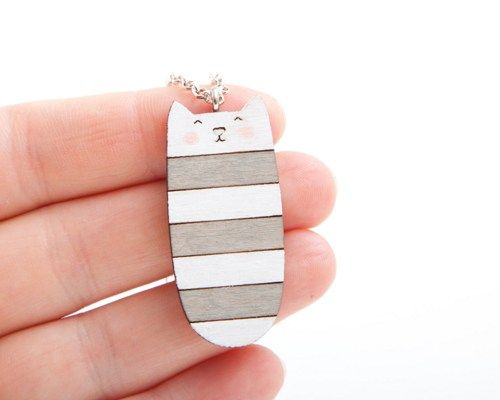 Striped Cat Pendant, Gray, Wood Cat Necklace