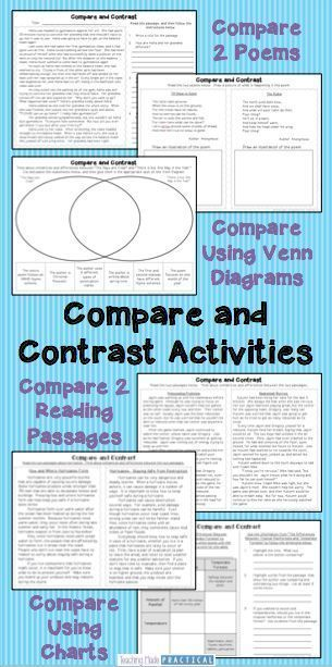No Prep Compare and Contrast Activities - Includes 13 reading passages and 4 poems, with corresponding activities. Students compare 2 characters within a reading passage, 2 poems by the same author, 2 passages over the same topic, and more! $