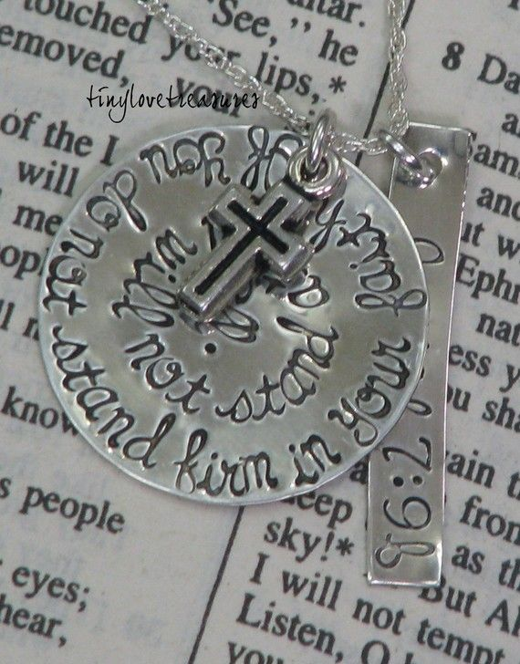 Sterling silver hand stamped necklace with rectangle tag and charms - Isaiah bible verse. $42.00, via Etsy.