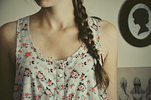 floral: Cute Tops, Floral Prints, Dreams Closet, Shirts, Summer Style, Flowers, Side Braids, Hair, Hello Summer