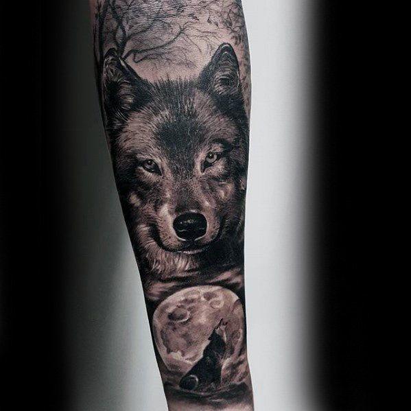 Wolf Howling At Moon Guys Realistic Forearm Sleeve Tattoo Ideas Unterarm Armeltatowierungen Armeltatowierungen Ganzarm Tattoos