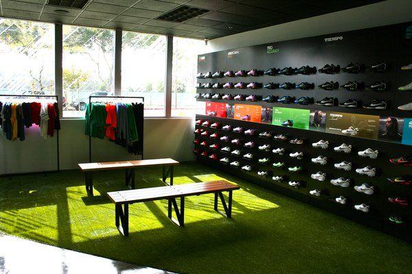 Soccer Store Shoe Wall In Nike Soccer Shop Business