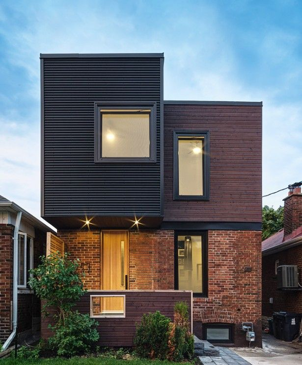 Corrugated metal siding with brick google search home for Modern house facades