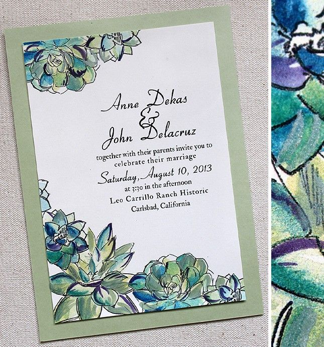 Succulent wedding invitations (this one doesn't look like artichokes!)