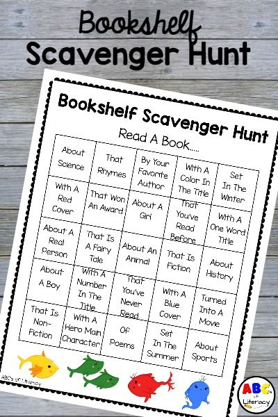 This Bookshelf Scavenger Hunt can be used as a literacy center, library activity, homework, or as an enrichment activity for early finishers. Book Scavenger Hunt | Literacy Activity | Literacy Center | Reading Scavenger Hunt