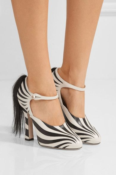 Heel measures approximately 105mm/ 4 inches Black and white leather, black goat hair Button-fastening strap Made in Italy